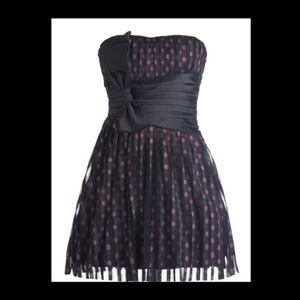 RICKETY RACK Strapless Polka Dot Retro Party Dress